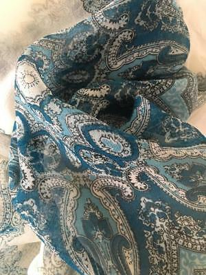"vintage SILK SCARF 28"" Sq WHITE transparent w BLUE 19"" detailed center & border"