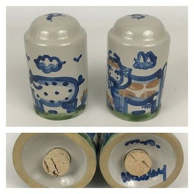M.A. Hadley SALT & PEPPER SHAKERS Cow Pig Stoneware Pottery Blue Country Scene