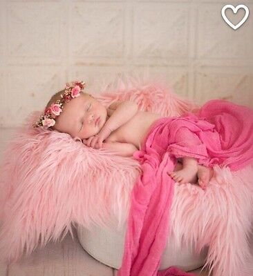 "Pink Mongolian  Faux Fur newborn Photo Prop  Blanket 20""x30"" Inches  Photography"