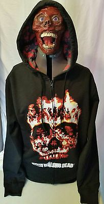 Nwt Mens L AMC TV The Walking Dead Fire Skull Zombie Faces Zip Up Hoodie Sweater