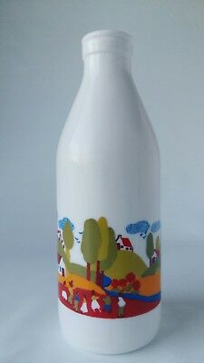 Vintage Illustrated Milk Bottle Colorful Modern Country Scene Glass Egizia Italy