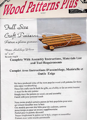 Wood Patterns Plus Full Size Craft Pattern Winter Sled  Assembly, Materials List