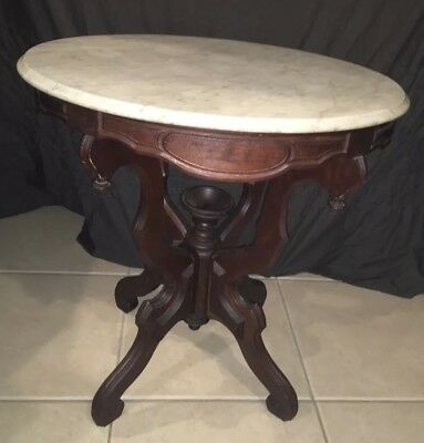 Vintage Antique Eastlake Victorian Mahogany Marble Top Oval Pedestal Table