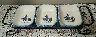 HENN WORKSHOPS LI'L SHIVERS BLUE SPONGEWARE TREAT DISHES With WROUGHT IRON STAND