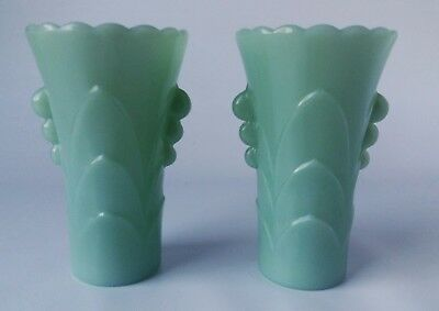 1930s Art Deco Glass Jadeite Pair Of Vases