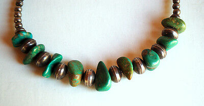 Vintage Navajo Bench Beads & Turquoise Necklace Choker Old Indian Silver Beads