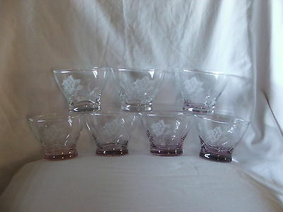 Vintage Decorative Rose Etched Dessert Glasses X 7 Pink Purple Clear Glass Base