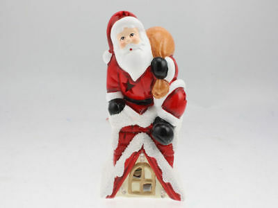 2 x christmas santa in the chimney light up ornament reduced to clear