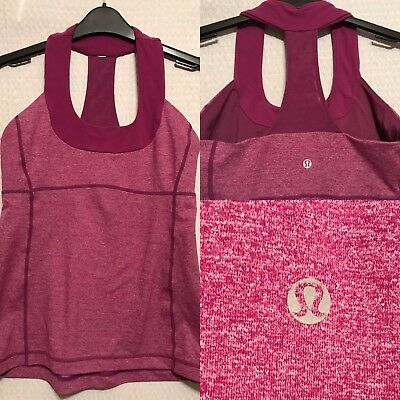 Lululemon Tank Top Built In Bra-Purple Racerback Workout Running Yoga-Size 6