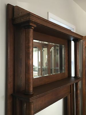 Vintage Antique Fireplace Mantel, Mantle with Beveled Mirror, Columns, Design