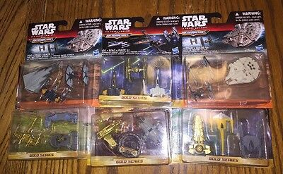Star Wars Micromachines Gold Series Lot Force Awakens Clone Tie Fighter Assault