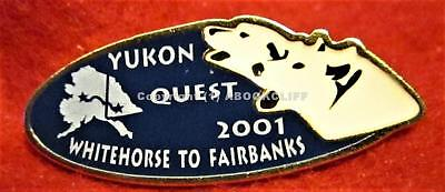 2001 YUKON QUEST WHITEHORSE to FAIRBANKS 1000 Mile DOG SLED RACE Lapel Pin Mint