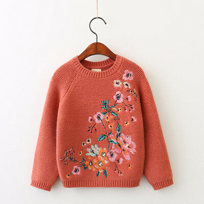 3-7T kids girls Autumn & Winter new clothing O-neck Floral keep warm Sweater