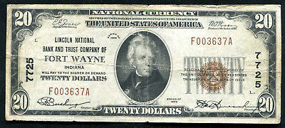 1929 $20 Lincoln Nb & Trust Co Of Fort Wayne, In National Currency Ch. #7725