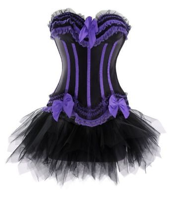 S Purple/Black Satin Ribbon & Bows Corset-Halloween Witch Gothic Costume