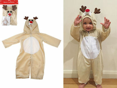 Toddler Kid Reindeer Costume Jumpsuit Christmas Party with Zipper Cosplay