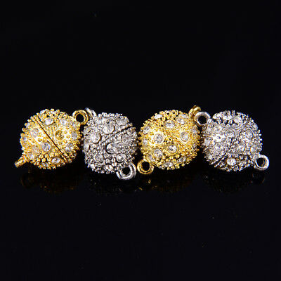 Silver/ Gold Color Plated Strong Magnetic Rhinestone Clasps Round Size 8/10/12m
