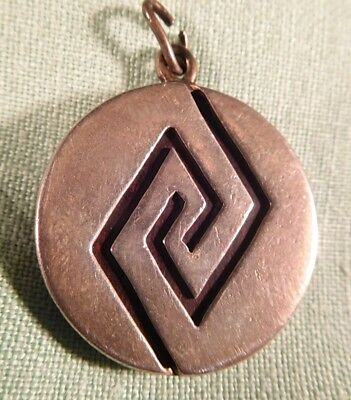 c1900 Old Pawn Hopi Sterling Silver Watch Fob Pendant w/ Silver Inlaid Hardwood
