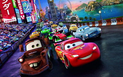 "003 Cars - Pixar Lightning McQueen Cartoon Movie 38""x24"" Poster"
