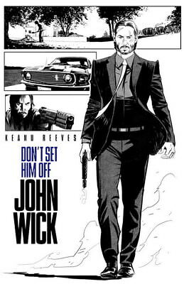 "007 John Wick Chapter 2 - Keanu Reeves 2017 Movie 24""x37"" Poster"