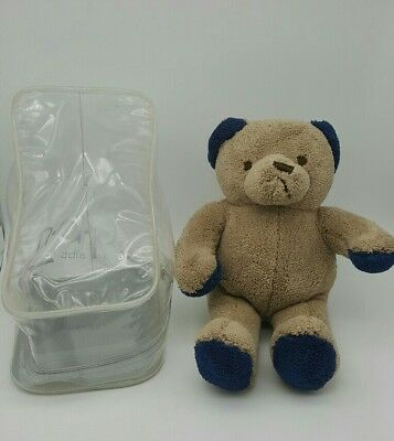 "Brookstone Nap 11"" Cuddle Bear Plush All-Beige w/ Navy blue accents"