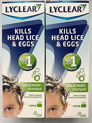 2x LYCLEAR 200ml SHAMPOO AND COMB ELIMINATE HEAD LICE EGGS Date valid 2020.