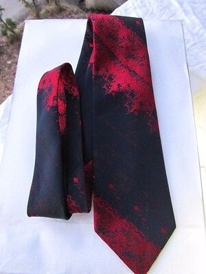 "GIOVANNI  MILANO TIE -  RED & BLACK - Abstract Stripes  SKINNY 3""   Vintage"