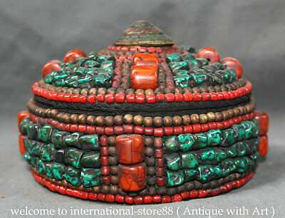 """8"""" Old Tibet Buddhism Turquoise Red Coral pearl Gem Bead Round Jewel Jewelry Box"""