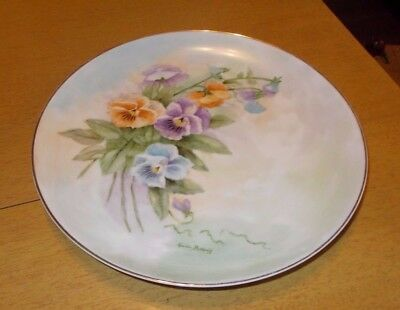 """Vtg Hand Painted 10"""" Pansies Plate Gold Rim Signed Lucille Bottoriff Multi Color"""