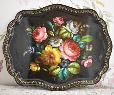 Shabby Chic Vintage Metal Tray Floral Arcy Creations Paris