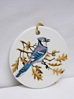 Blue Jay Bird inTree 3 In Round Porcelain Christmas Tree Ornament Fired Decal