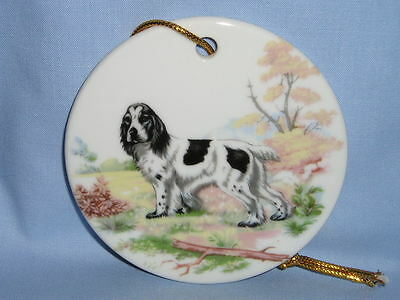 English Springer Spaniel Dog 3 Inch Round Porcelain Christmas Tree Ornament-H