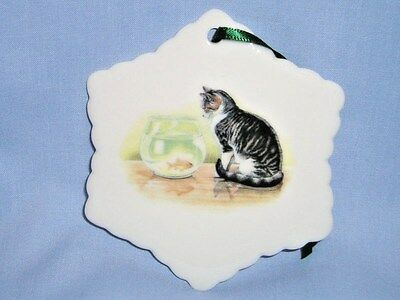 Tabby Cat & Fish Bowl Snowflake Christmas Ornament Porcelain 3 In Fired Decal