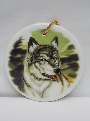Wolf In Woods 3 In Round Porcelain Christmas Tree Ornament Fired Scene Decal-G