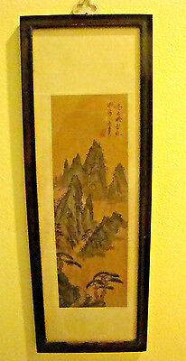 Vintage Chinese Watercolor Paintings On Silk  Mountains Scene Signed/sealed