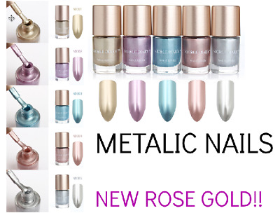 Metallic Nail Polish Mirror Effect Lacquer Varnish Shiny Metal 5 Colors Rose Gol