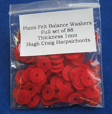 Piano Keyboard Balance Washers-Felt-Set of 88 - for Upright or Grand Pianos