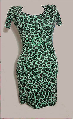 EUC Betsey Johnson Green Leopard Print Knit Dress Small, No defects.