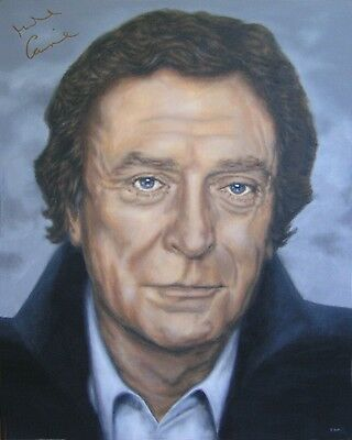 MICHAEL CAINE Painting, AUTOGRAPHED by Him - video proof