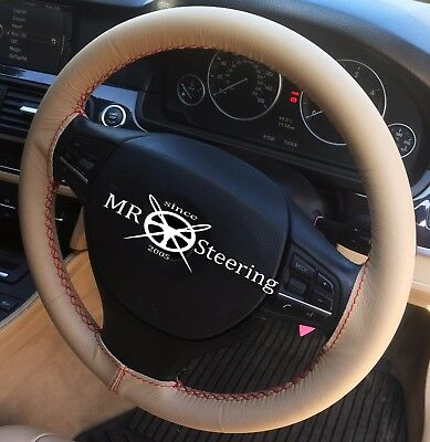 FITS PORSCHE BOXSTER BLACK LEATHER STEERING WHEEL COVER WHITE STITCHING