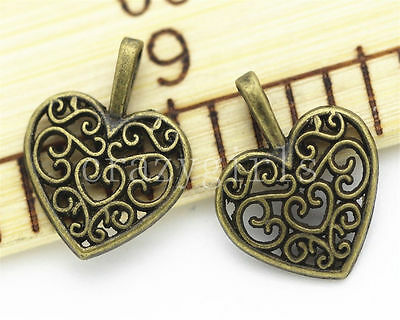 DIY 4 corazones color bronze 18x10 mm plata tibetana fornituras / abalorios