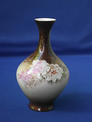 Small Bulb Stem Vase Glass Glazed Background Flower Design Hand Finished Painted