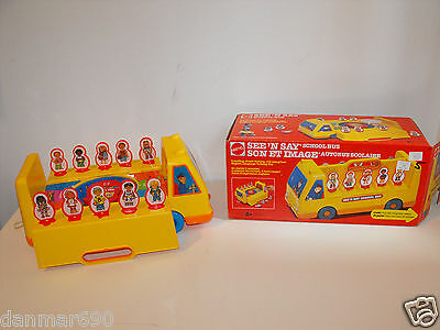 See 'N Say School Bus by Mattel 1989 W/Box Very RARE !!!! Very Good Condition!!!