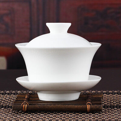 Chinese Gaiwan Tea Set Kung Fu White Ceramic Gaiwan Teaware Sancai Tea Cup