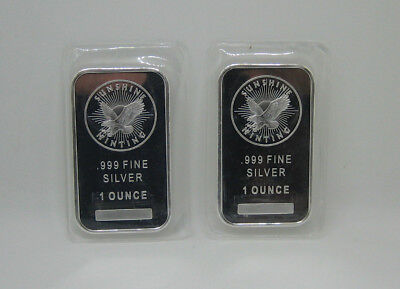 Lot of 2 - Sunshine Minting Inc. 1 Troy Ounce .999 Fine Silver Bar