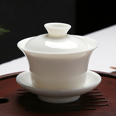Chinese Ceremony Gaiwan Tea Tureen Ceramic White Jade Porcelain teacup Cup 120ml