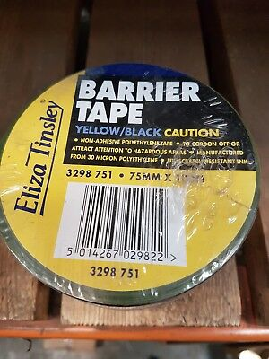 Yellow/black Barrier Tape (Caution) 100M X 75Mm - Stock Clearance!