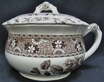 """T. FURNIVAL & SONS Brown Hazel 9"""" Chamber Pot with Lid"""