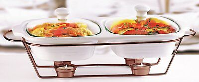 Circleware Ceramic Chafer Double Buffet Server/warmer/baker Serving Tray with 2