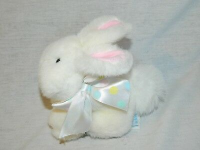 "EDEN 7"" plush White Bunny Rabbit w pink ears polka dot Bow Ribbon stuffed VTG"